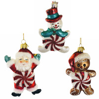 Kurt Adler Peppermint Santa Gingerbread Snowman Christmas Tree Ornament Set 3