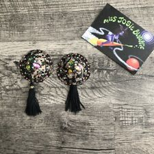 Black floating lace pasties with tear drop stones and tassels