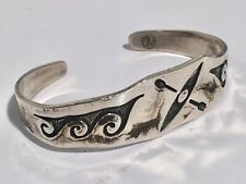 Indian Sterling Cuff Bracelet Signed Vintage Hopi American