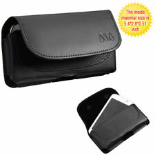Black Leather Case Clip Horizontal Pouch for T-Mobile Revvl
