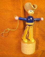 Italiano Push Puppet Poussez la main de marionnette en bois cowboy western raro