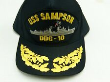 US NAVY CAP ORIGINAL USS SAMPSON DDG-10 Made in USA Double Eggs One Size