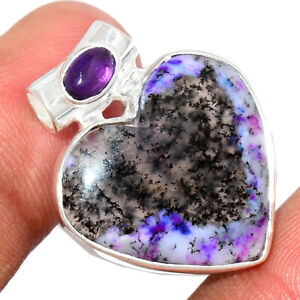 Heart - Purple Dendritic Opal & Amethyst 925 Silver Pendant Jewelry BP77393