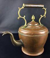 ANCIENNE - Art nouveau XIXème grande théière Marocaine en cuivre et laiton