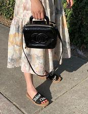 Chanel Cc Logo crossbody Timeless Mini vanity black patent lunchbox strap 08624