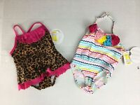 Koala Kids Swimsuit 3-6 Months NWT Cheetah Ruffle Lot of 2 One Piece Colorful