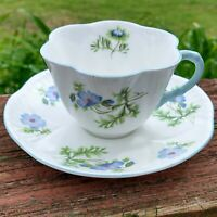 Vintage Shelley England Blue Poppy Dainty Tea Cup & Saucer Set Blue Poppies