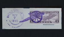 1931 Battleground, Indiana Cannon Fancy Cancel on Paper Segment 5c Scott #C12