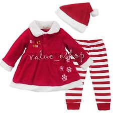 3pcs Newborn Baby Girl Top Dress Outfit Striped Pants TuTu Clothe Christmas Gift