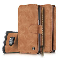 For Samsung Galaxy/iPhone Leather Case Zipper Magnetic Wallet 14 Card Slot Cover