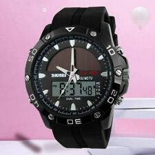 MENS SOLAR POWERED 5ATM WATERPROOF WATCH Digital Sports Water Resistant Gold 22