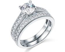 2.50 CT corte redondo conjunto anillo de compromiso de boda Real Oro Blanco 14K banda que empareja