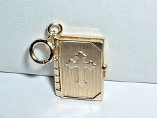 14K YELLOW GOLD RELIGIOUS BIBLE BOOK CHARM PENDANT opens up to the lords prayer