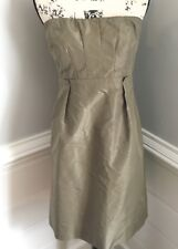 J. Crew 100% Silk Taffeta 'Gracen' Dress Size 8 Olive Green Strapless Cocktail