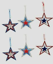 Lot of 6 Red White Blue Patriotic Star Ornaments - glittered