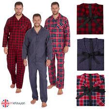 Mens 100% Cotton Flannel Check Pyjamas PJ Pajamas Set Buttons Chest Pocket M-XXL