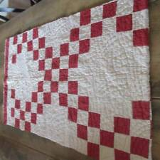 Great Condition! Christmas Perfect! RED & White Cutter QUILT Piece 38x22