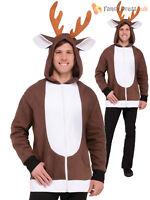 Adults Reindeer Hoodie Mens Christmas Xmas Fancy Dress Costume Jumper Funny