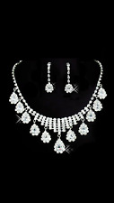 WEDDING BRIDAL PROM PAGENT PARTY FLOWER GIRL RHINESTONE  NECKLACE EARRING SET