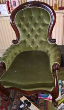 ANTIQUE REPLICA MAHOGANY & GREEN FABRIC VICTORIAN CHAIR ORNATE HAND CARVED ARM