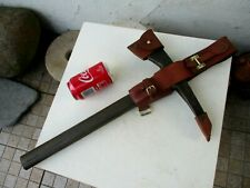 Vintage War Ship Fireman Museum Steel Axe Tool Rescue Firefighter Leather Sheath