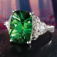 Fashion Emerald Crystal Women Wedding Engagement Ring 925 Silver Jewelry Sz 6-10