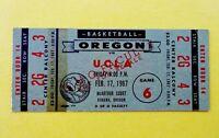 University of Oregon Ducks vs. UCLA Bruins Basketball Vintage 1967 Ticket NCAA