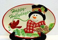 Fitz and Floyd Holly Berry Snowman Hollydays Oval Plate Tray Platter Cardinal