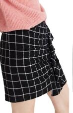 New Madewell Windowpane Ruffle-Front Skirt Black Sz 14 H2323