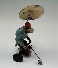 Antique Tin Wind Up Monkey w/ Under Umbrella