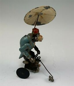 Antique Tin Wind Up Monkey w/ Under Umbrella