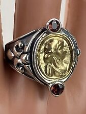 BJC Garnet Cameo Ring 925 Sterling Silver 18K Gold Statement