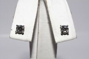 $1,100 .53CT NATURAL ROUND CUT DIAMOND STUD EARRINGS 14K WHITE GOLD
