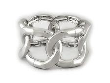 "CHAIN BRACELET Wide 1 1/2"" Designer Style Silver Plated Chain Stretch Bracelet"