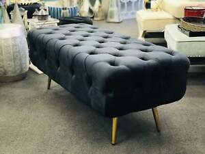 Brand New Tufted Velvet Bench with Metal gold feet - Classic Black
