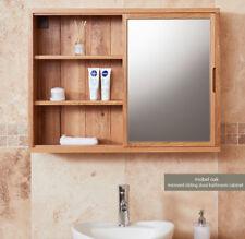 baumhaus mobel oak mirrored wall cabinet with sliding door bathroom range