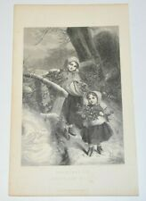 CHRISTMAS EVE Bringing Home The Holly Engraving Print Shields ILLMAN Brothers