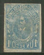 STAMPS-COLOMBIA. 1903. 1p Blue. Variety Complete Offset on Back. SG: 235a. MH