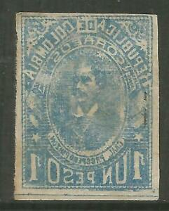 STAMPS-COLOMBIA. 1903. 1p Blue. Variety Complete Offset on Back. SG: 235a. MH.