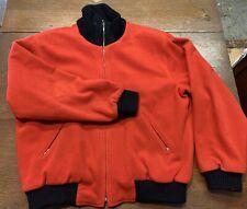 Vintage Mens Wool Bomber Jacket Made In France Satin Lining