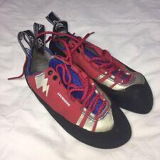Evolv Luchador Mens Lace Climbing Shoes Light Use Size 8.5 Red Blue Black EUC