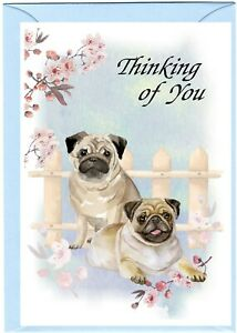 "Pug Dog (4"" x 6"") Thinking of You Card (blank inside) by Starprint"