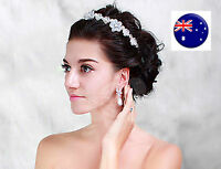 Lady Girl White Wedding Bride Bridal pearl Flower Party Hair Headband Band Prop