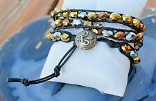 Beaded Black Leather Triple Wrap Bracelet or Double Wrap Anklet Earth Tones