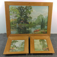 Vintage Paint By Number Set/3 Lake Scene Peaceful Gazebo Swans Trees Dated 1962