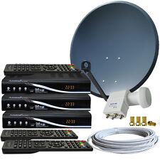 4-Teilnehmer HDTV Sat Anlage 80cm Spiegel 3x HDTV Sat-Receiver HD Quad LNB