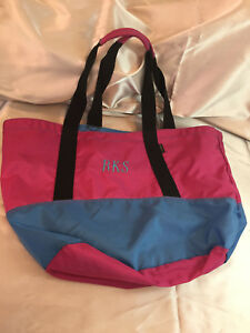 "LL Bean Canvas Boat Tote Bag Monogram RKS Zip Top Double Strap 13"" x 22"""