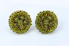 Vintage Signed Miriam Haskell Clip On Earrings Green Chartreuse Beads Cluster
