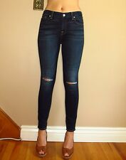 Seven 7 For All Mankind $189 Ankle Skinny Dark Destroyed Knee Hole Jeans 27 NWT