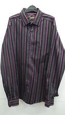 Púrpura y negro rayas camisa de Al XL Mans